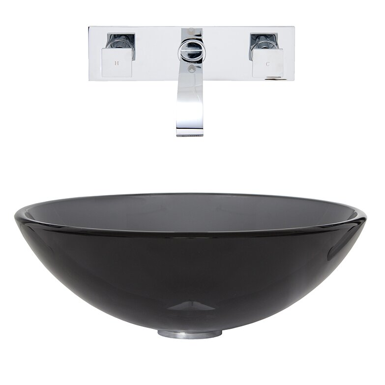 Vessel Sink Wall Mount Faucet : ... Glass Vessel Bathroom Sink and Titus Wall Mount Faucet with Pop Up