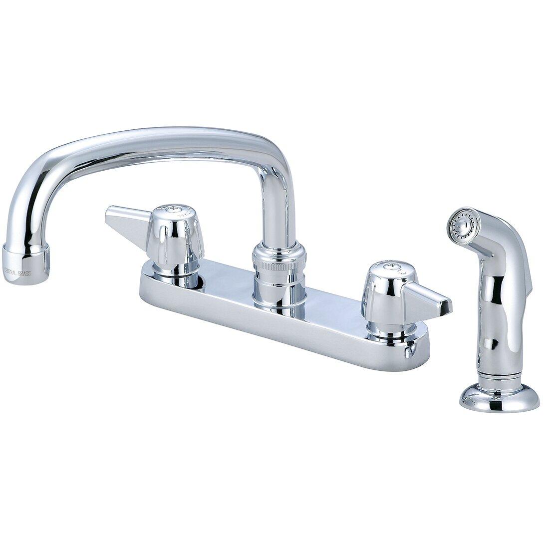 Double Handle Kitchen Faucet Central Brass Double Handle Centerset Kitchen Faucet With Side