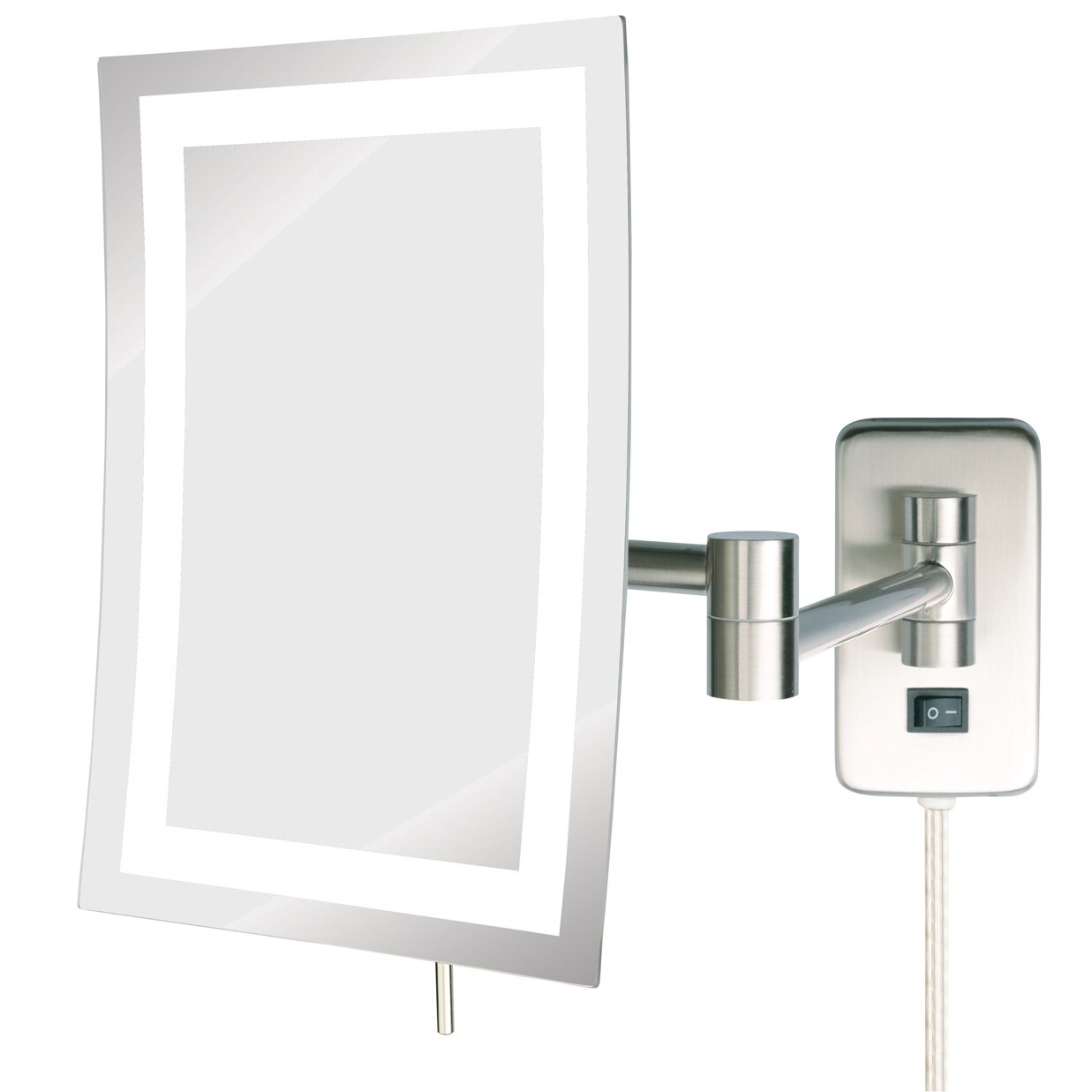 Wall mounted makeup mirror with lights - Jerdon Led Lighted Wall Mount Rectangular Makeup Mirror