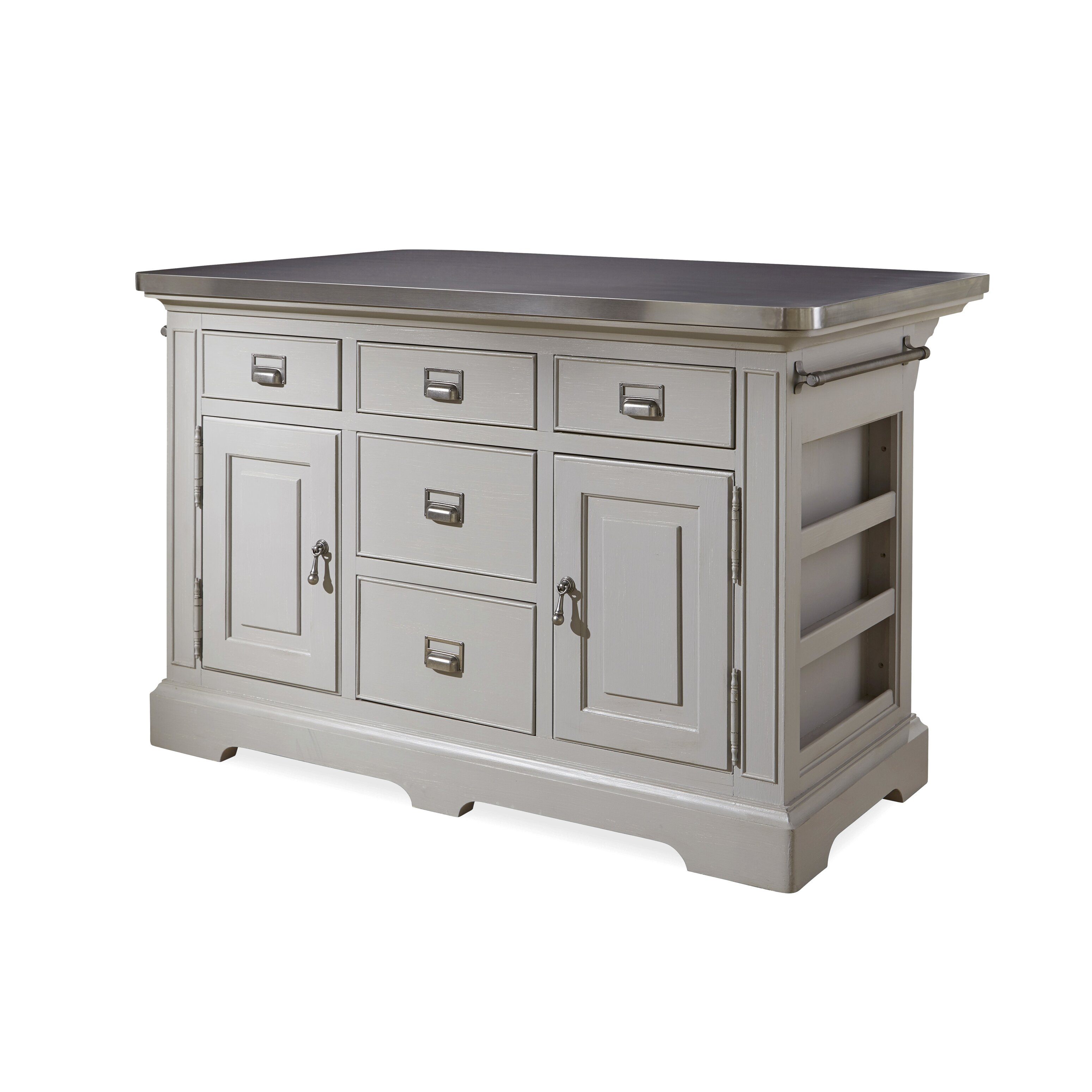 paula deen home dogwood kitchen island with stainless steel