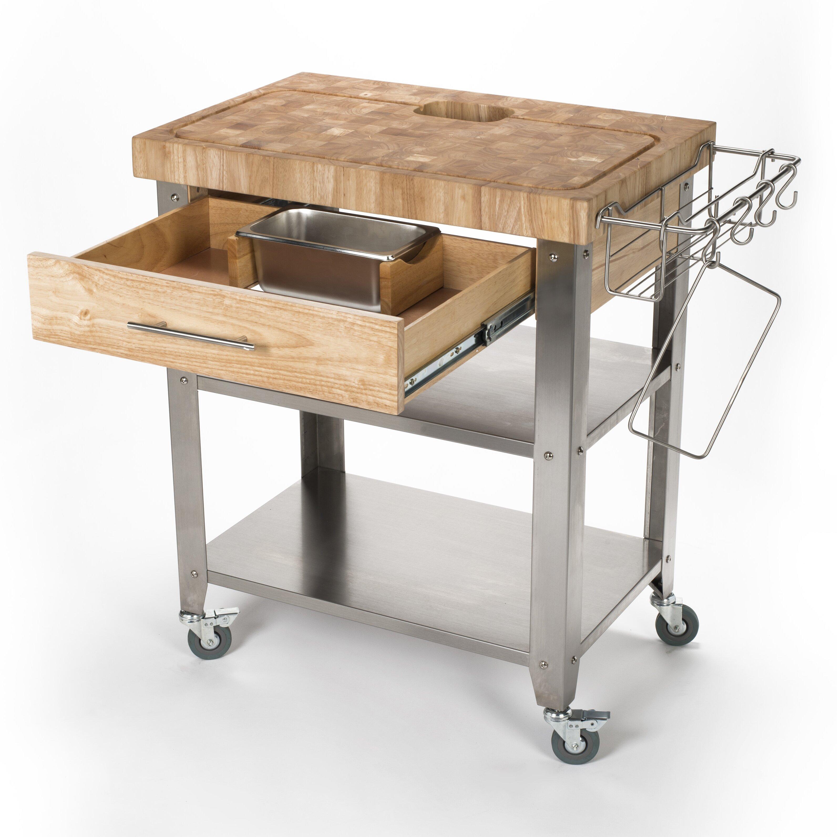 Kitchen Butcher Blocks : Chris & Chris Pro Stadium Kitchen Cart with Butcher Block Top & Reviews Wayfair