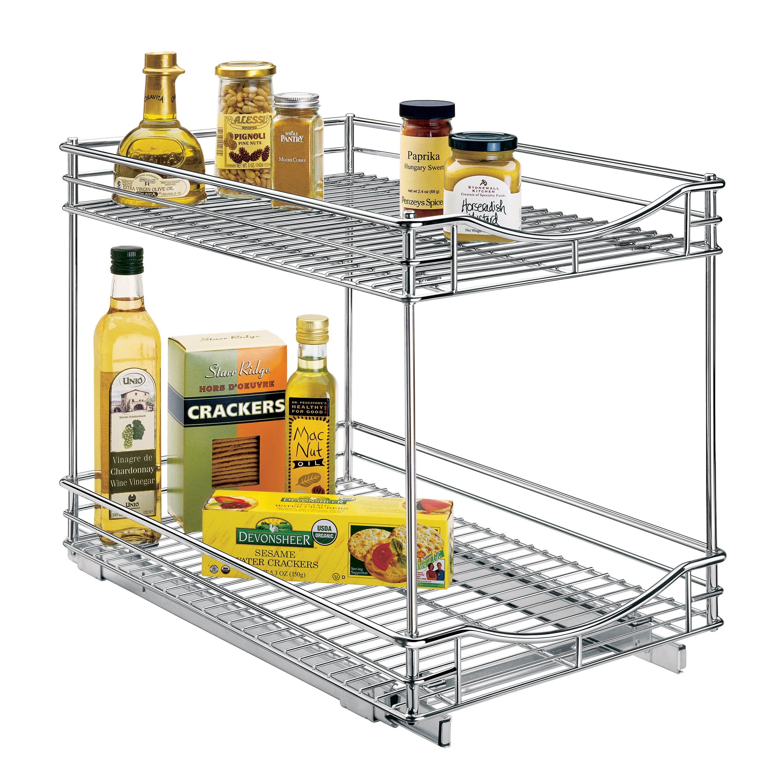 Tiered Shelves For Cabinets Lynk Lynk Professionalr Roll Out Double Shelf Pull Out Two Tier