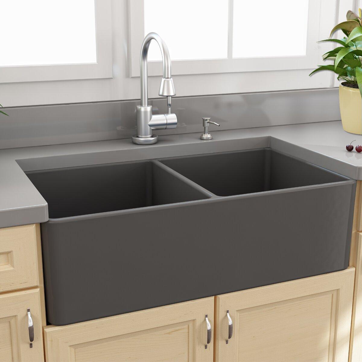 "Apron Kitchen Sink: Nantucket Sinks Cape 33.25"" X 18"" Double Bowl Apron"