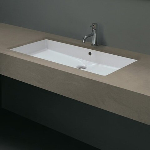 WS Bath Collections Ceramica Cubo Rectangular Undermount Bathroom Sink with  Overflow