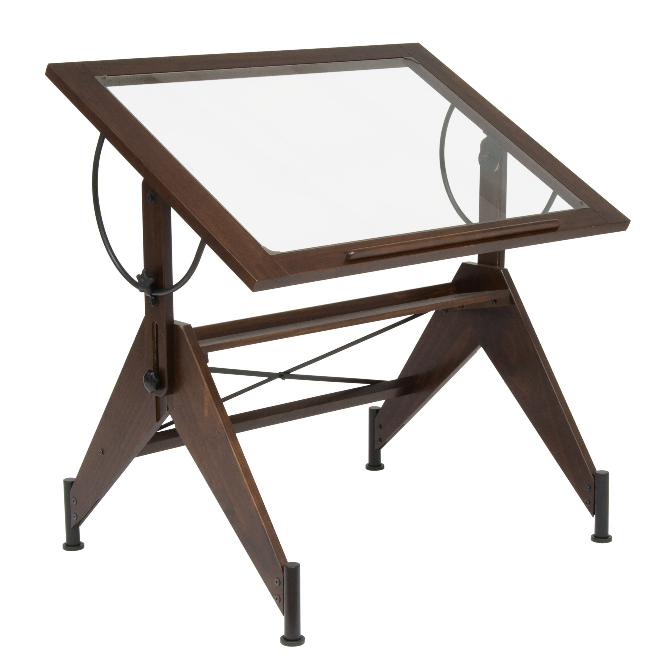 Drafting table dimensions - Studio Designs Aries Glass Drafting Table