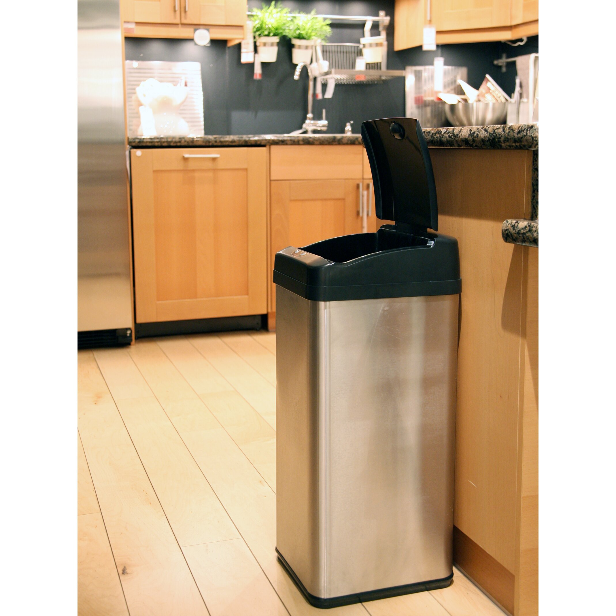 Itouchless Touchless 13 Gallon Motion Sensor Metal Trash Can Itouchless  Touchless 13 Gallon Motion Sensor