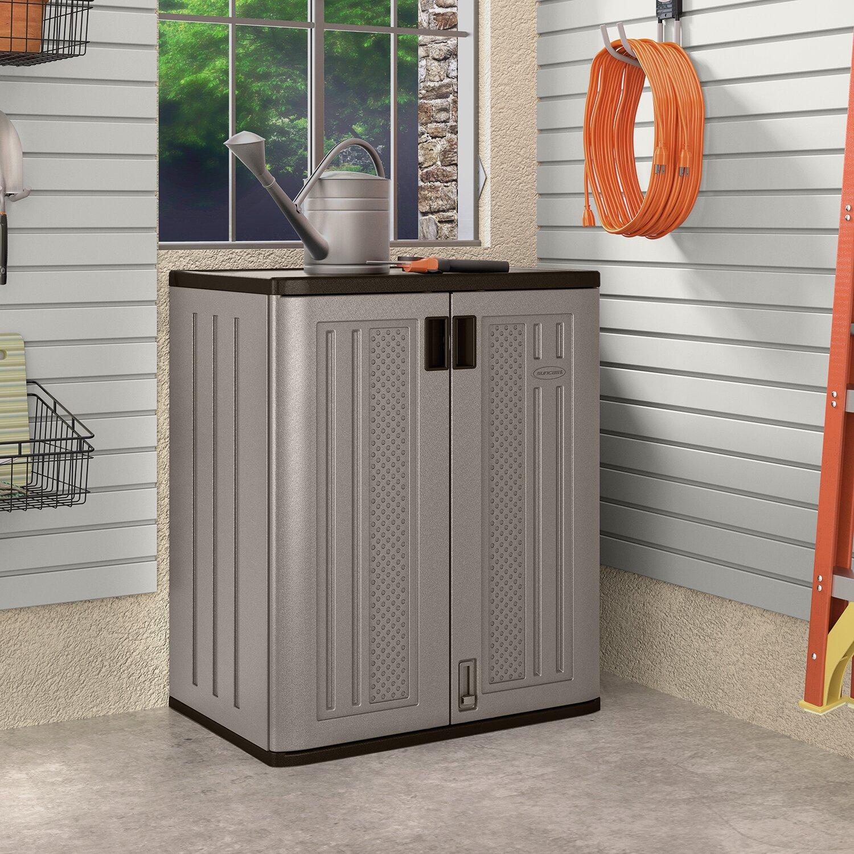 Floor Storage Cabinets Suncast 25 Ft W X 16 Ft D Base Storage Cabinet Reviews Wayfair