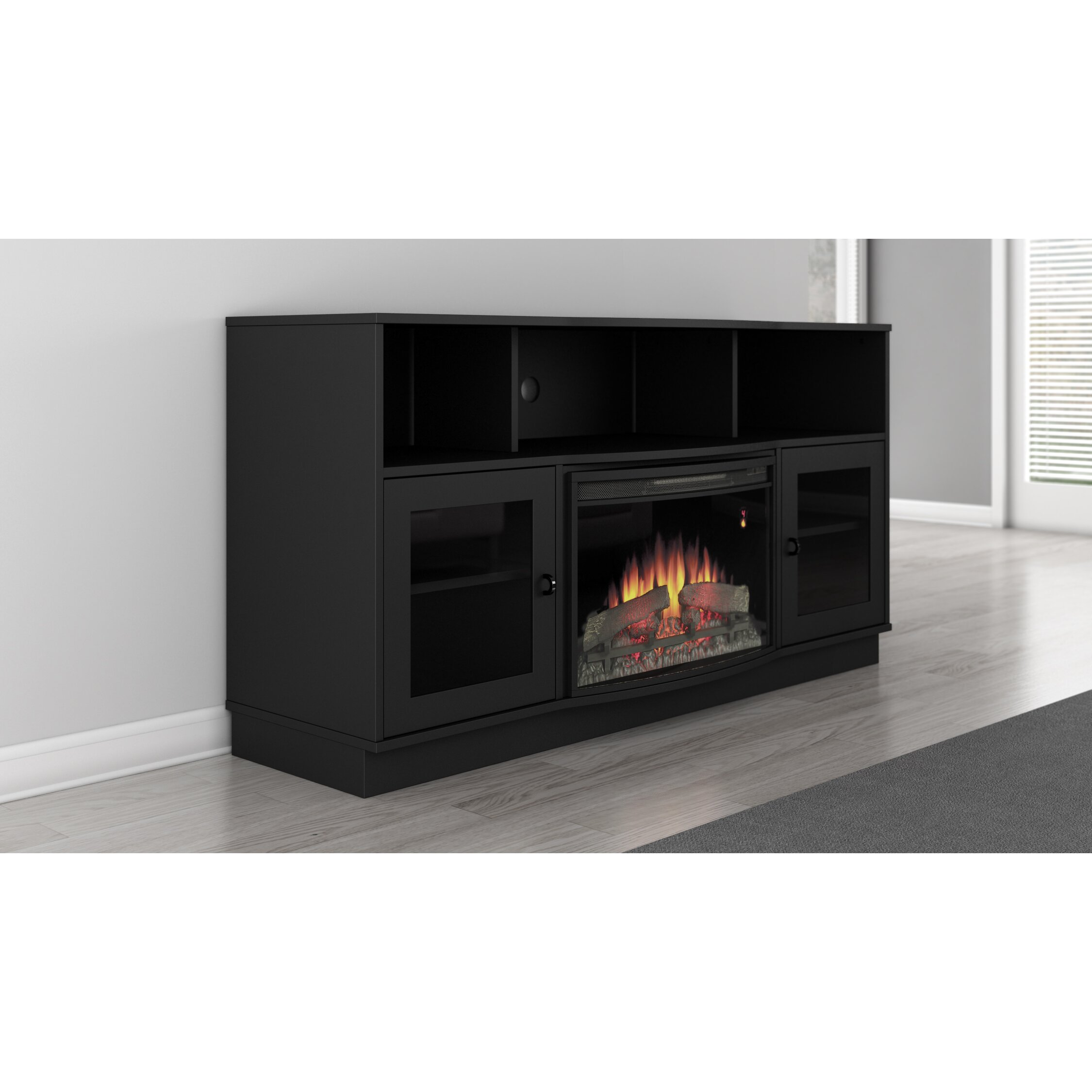 White tv stand with electric fireplace - Furnitech Contemporary Tv Stand With Electric Fireplace