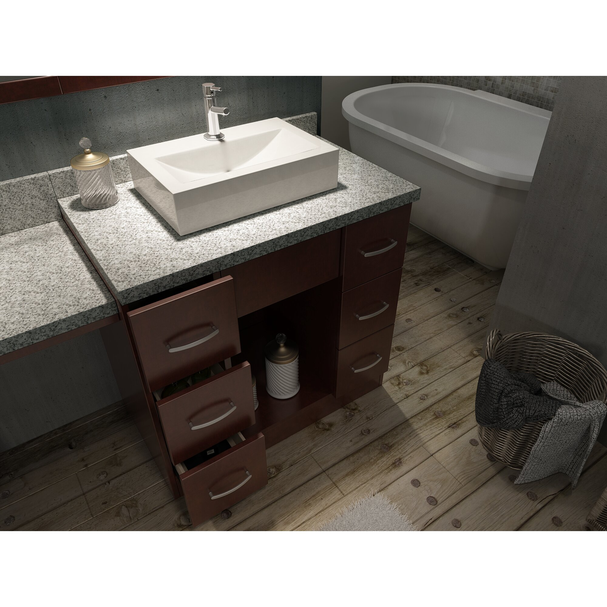 Ariel Bath Roosevelt  Double Sink Vanity Set With Mirror And - Bathroom sink with vanity