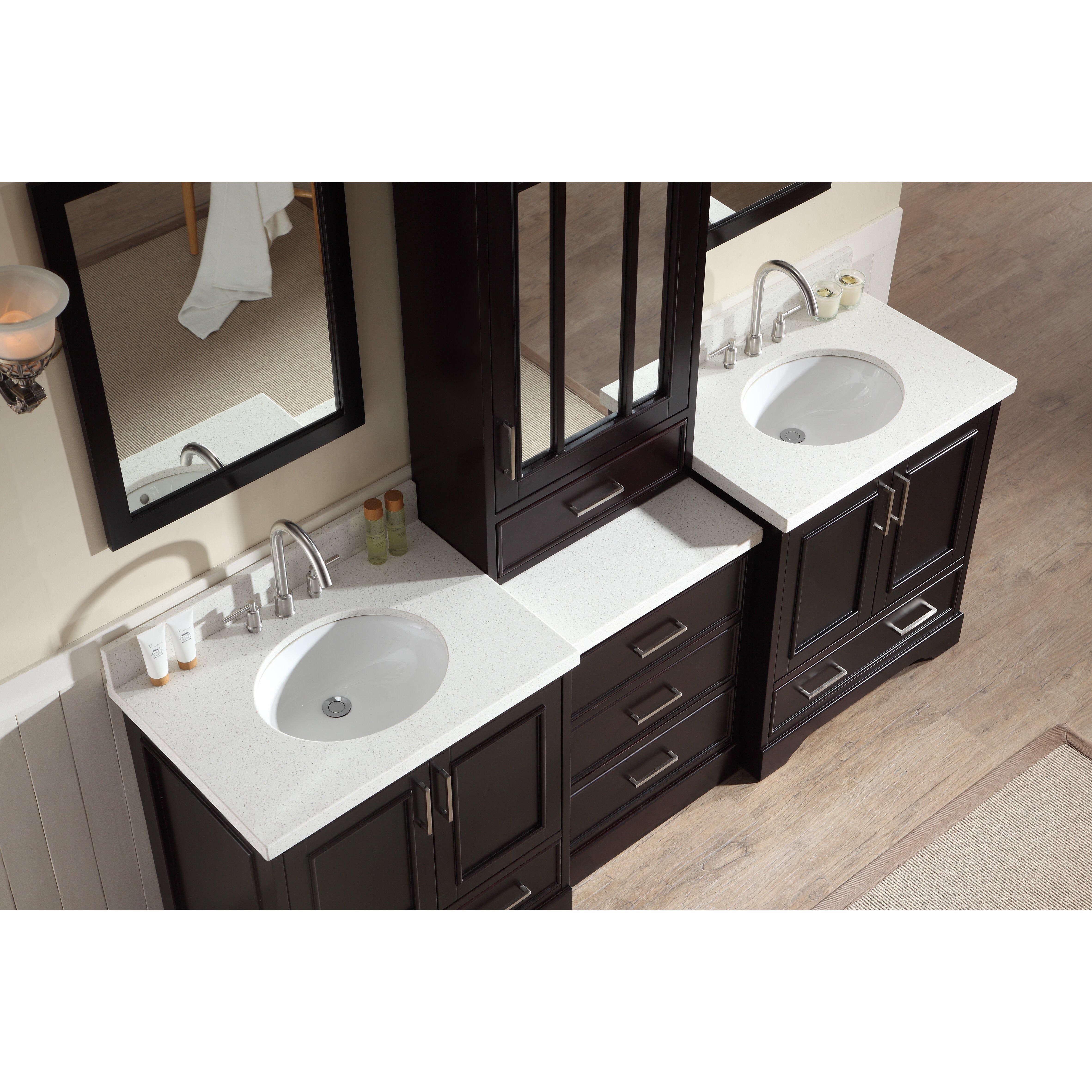ariel bath stafford 85 double sink vanity set with mirror ba