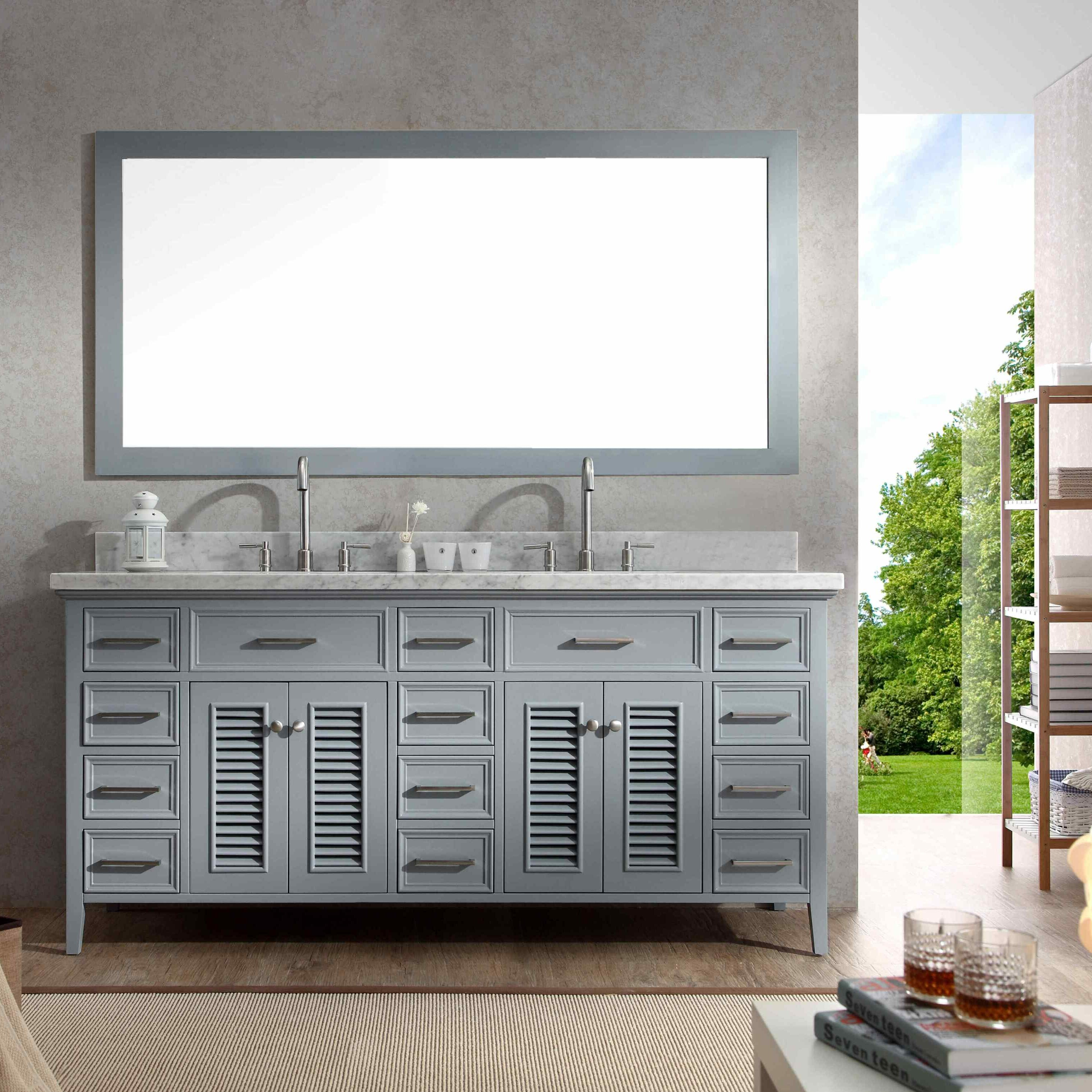Ariel Bath Kensington 73 Double Bathroom Vanity Set with Mirror – Bathroom Vanity and Mirror Set