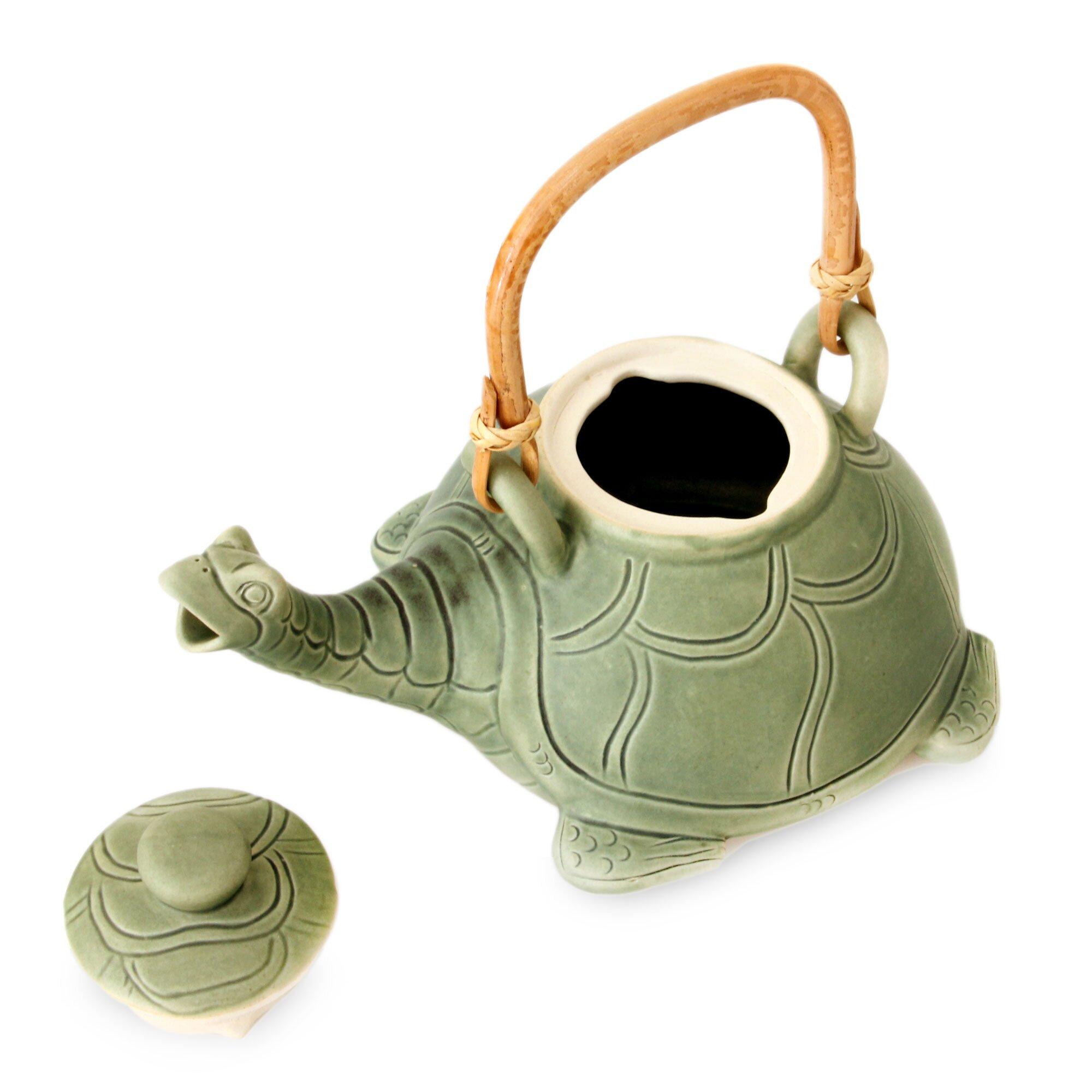 Novica Lingering Turtle Unique Ceramic Teapot