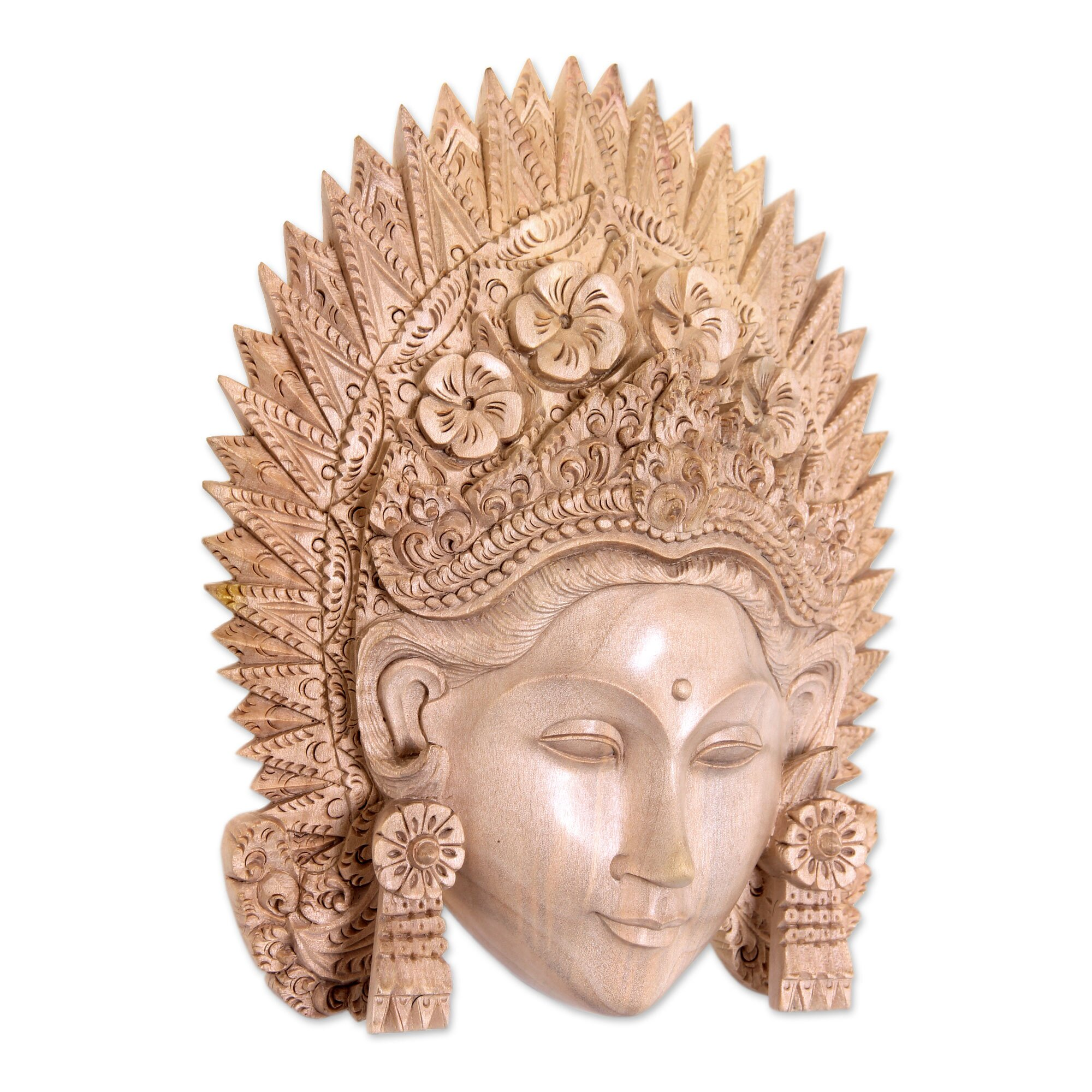 Wood Carved Wall Decor Novica Balinese Hand Carved Natural Wood Janger Dance Mask Wall