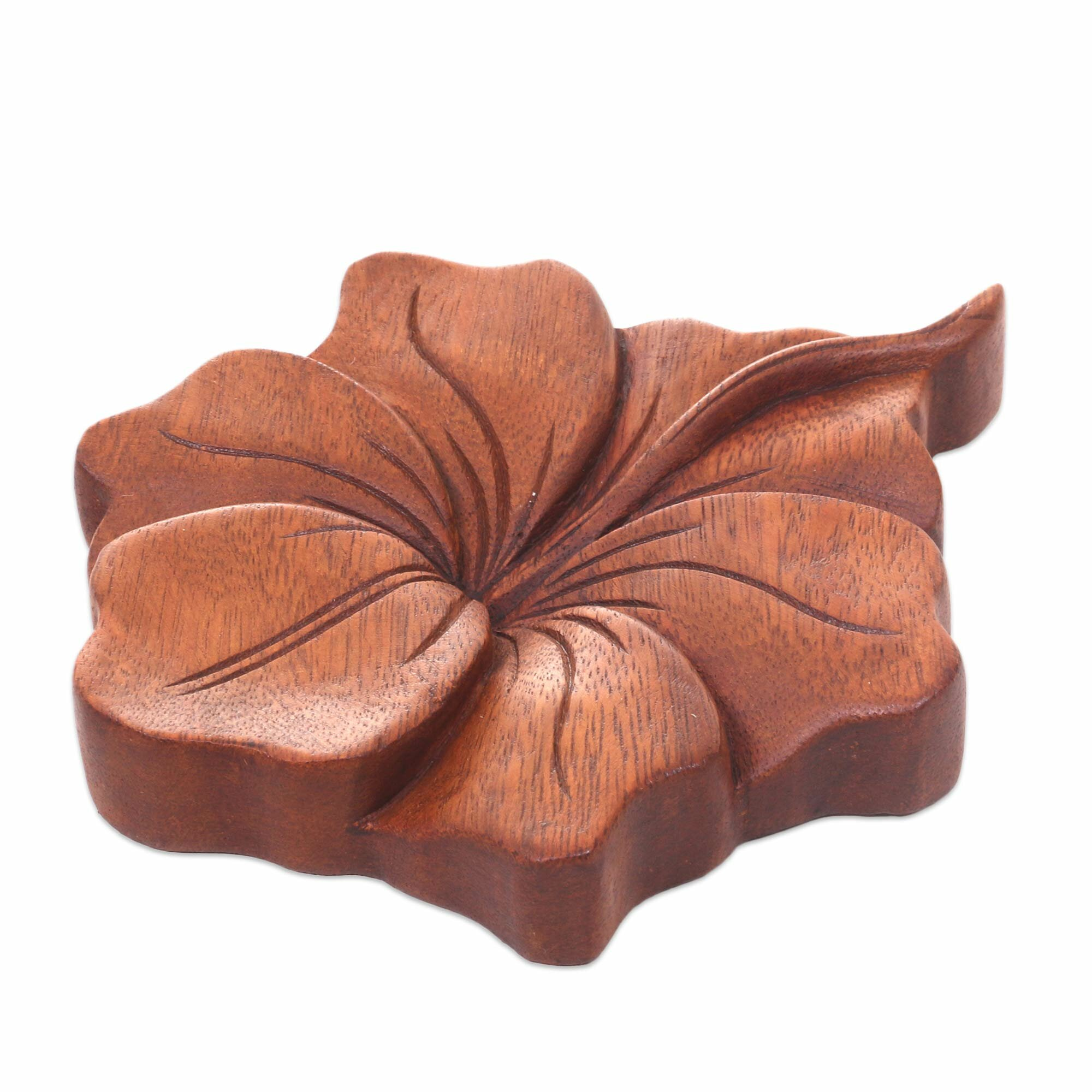 Novica Balinese Hand Carved Hibiscus Flower Wood Relief