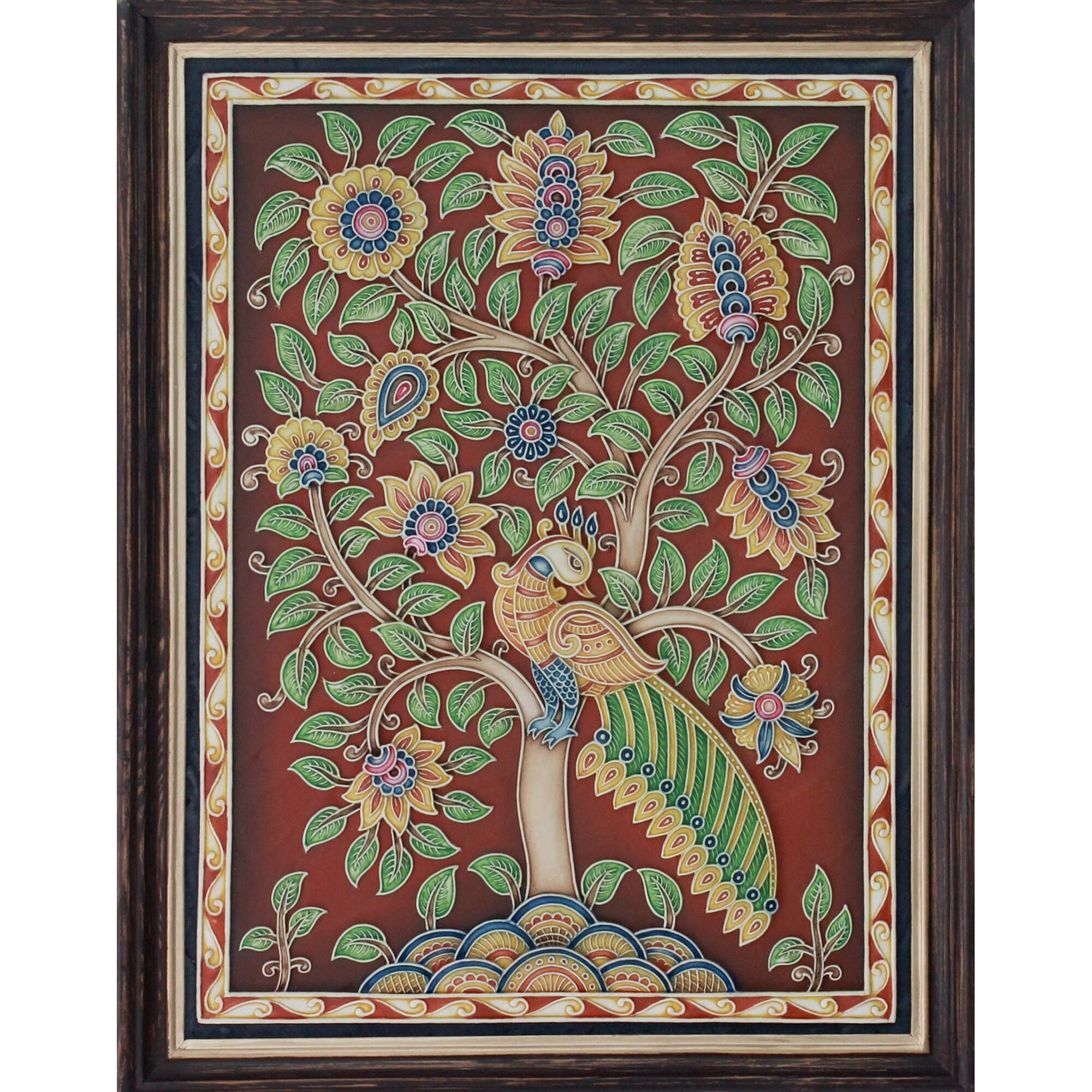 Novica Peacock Dance Handpainted Marble Dust Relief with Peacock Wall  Du0026eacute;cor
