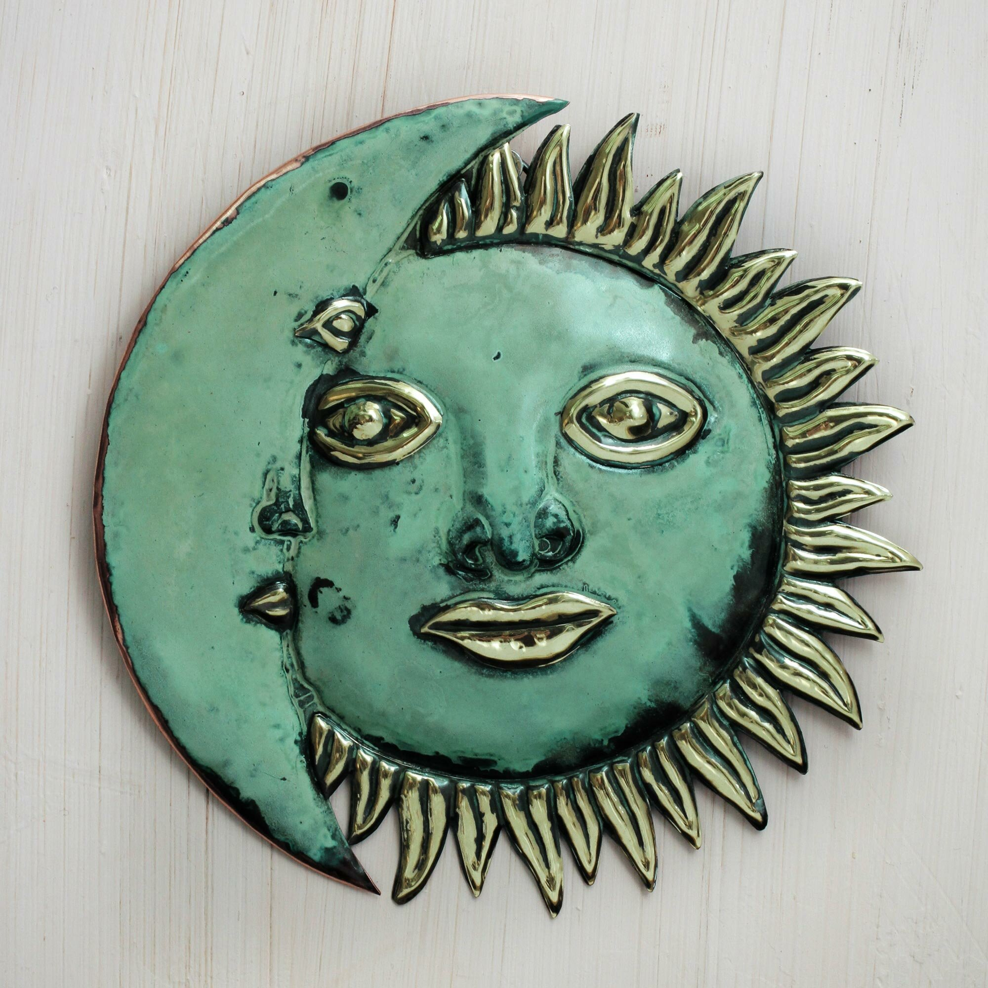 Bronze Wall Decor Novica Ana Maria Enciso Handmade Sun And Moon Copper And Bronze