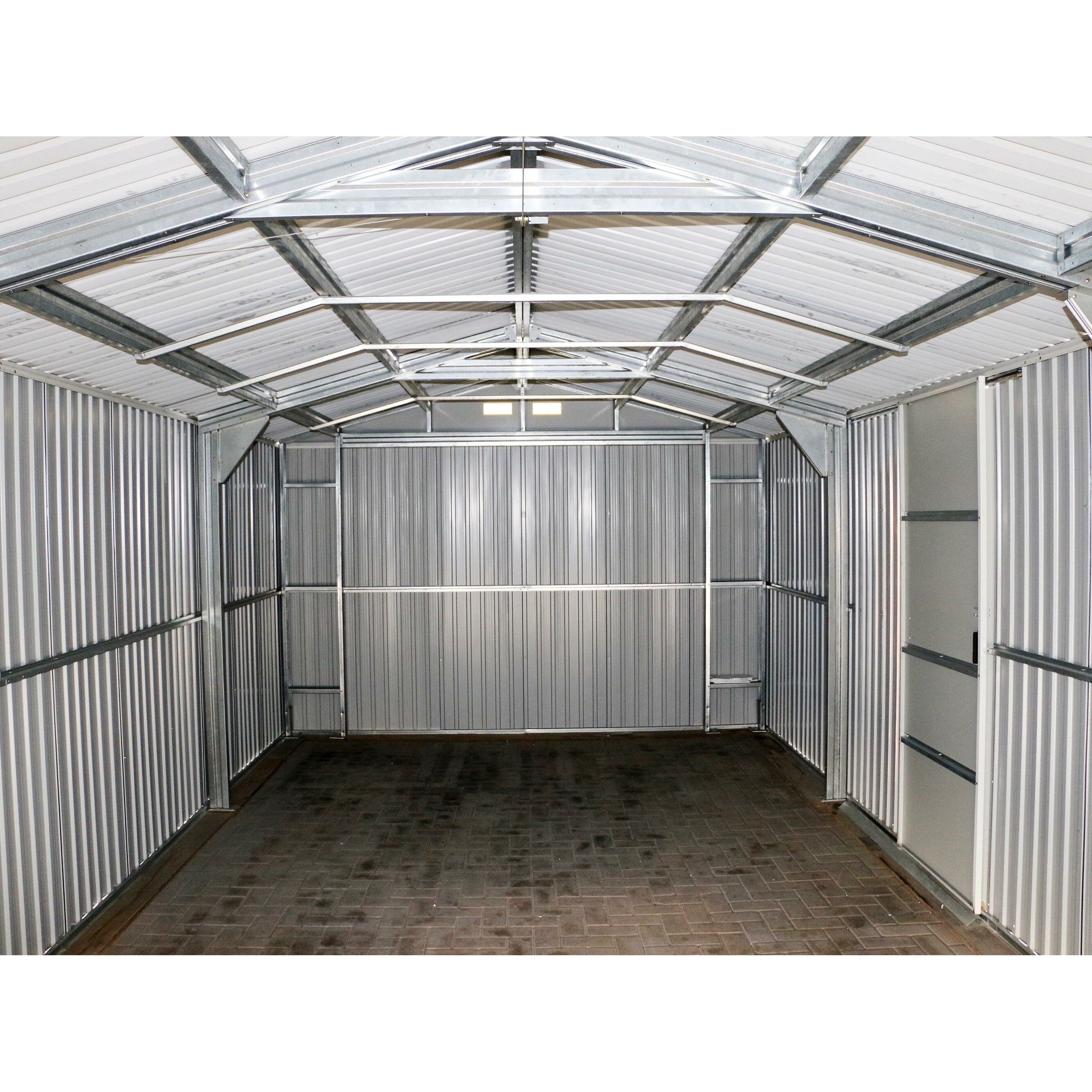 Duramax imperial 12 ft w x 20 ft d metal garage shed for Garden shed garage