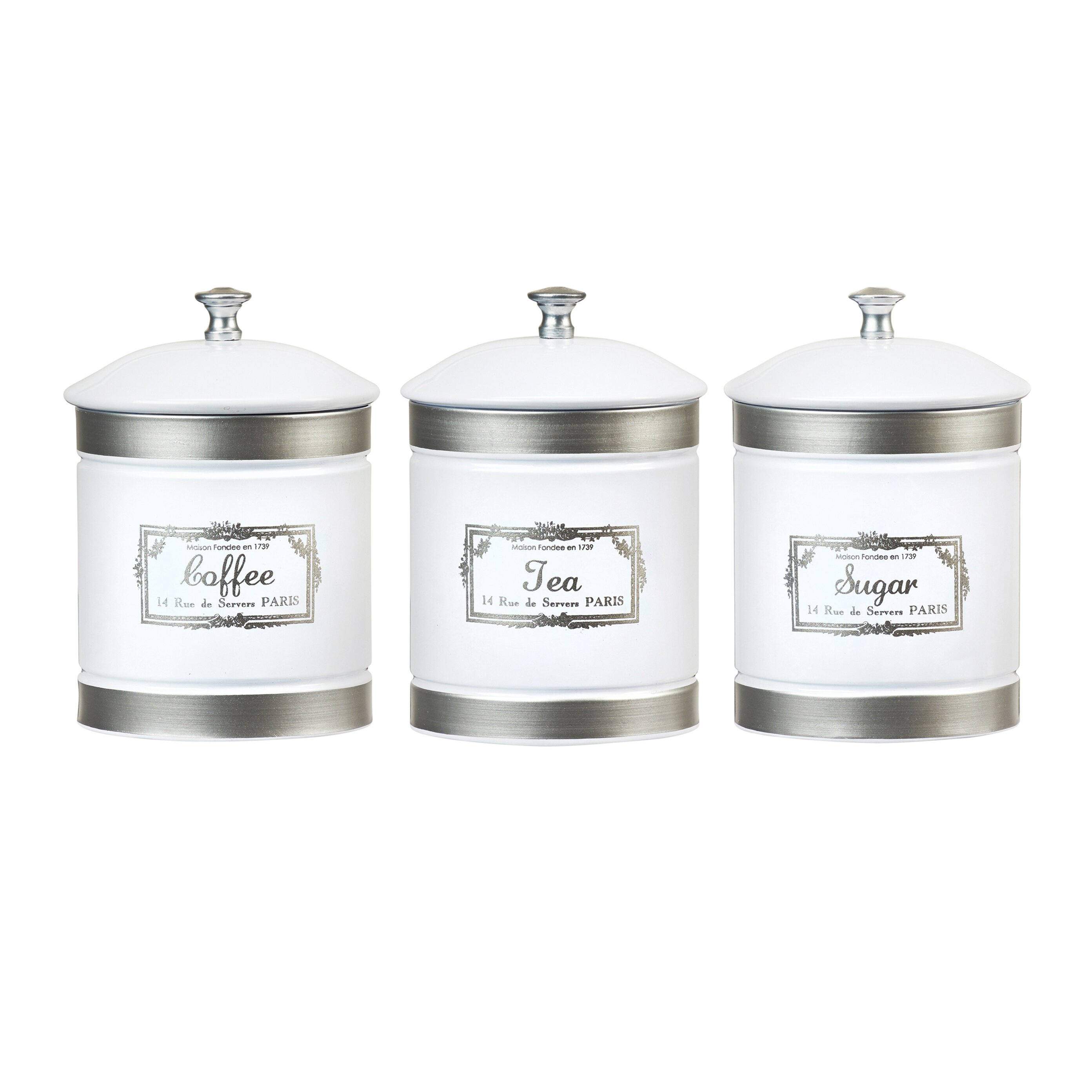 Country canister sets for kitchen - Global Amici Country Farmhouse 3 Piece Metal Canister Set