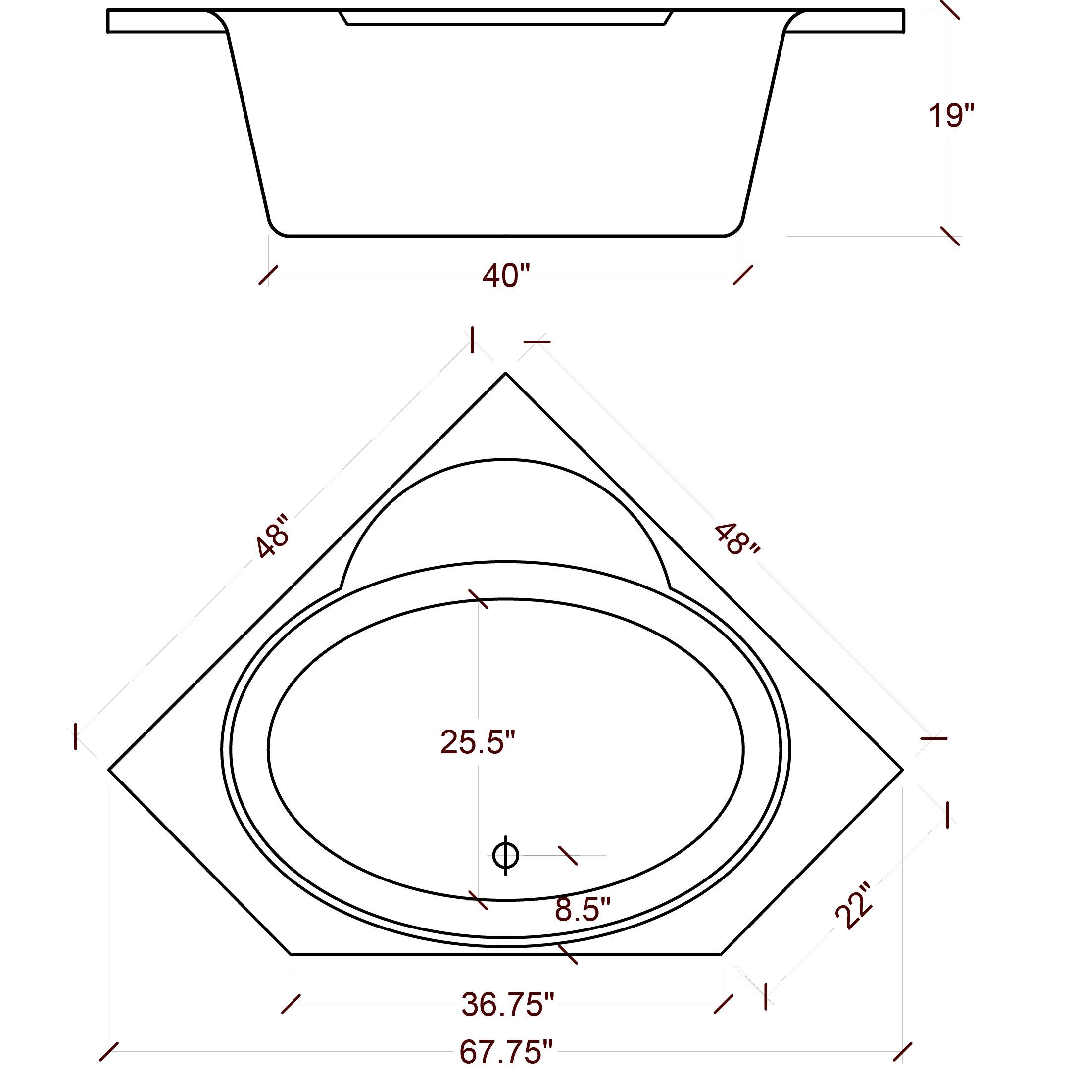 American Acrylic  X  Soaker Corner Bathtub  Reviews Wayfair - Corner garden tub dimensions
