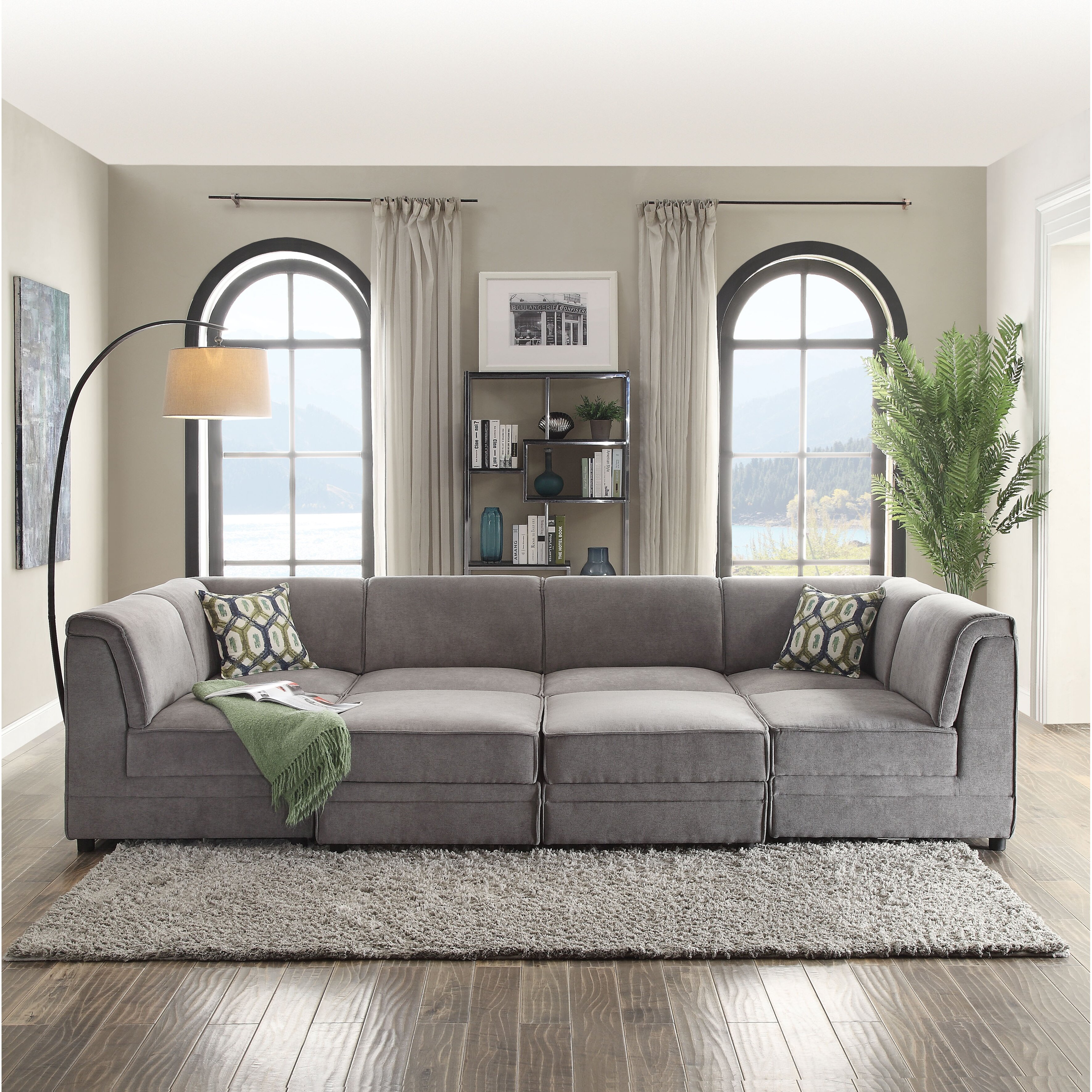 Acme Barlow Beige Fabric Sectional Sofa With Right Chaise