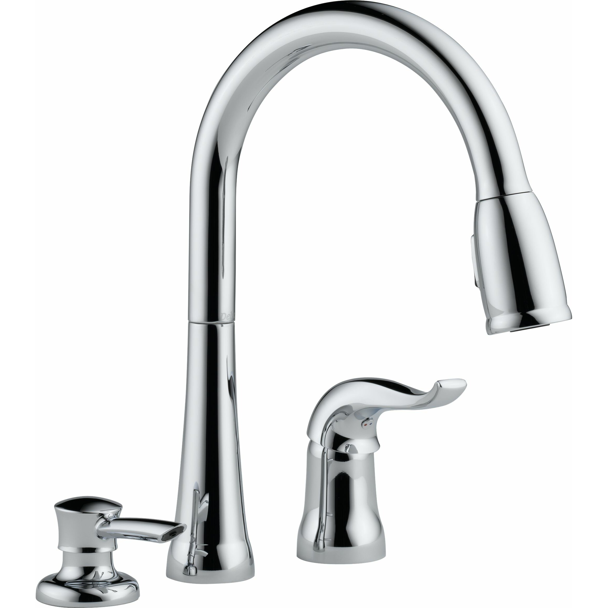 delta kate single handle deck mounted kitchen faucet with