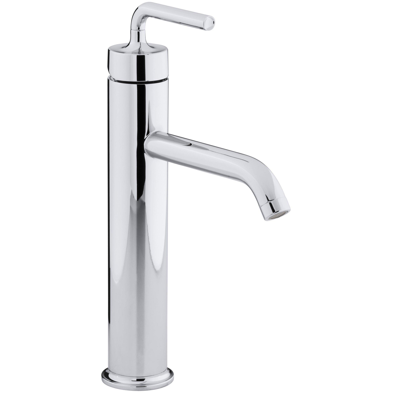 kohler purist tall single-hole bathroom sink faucet with straight