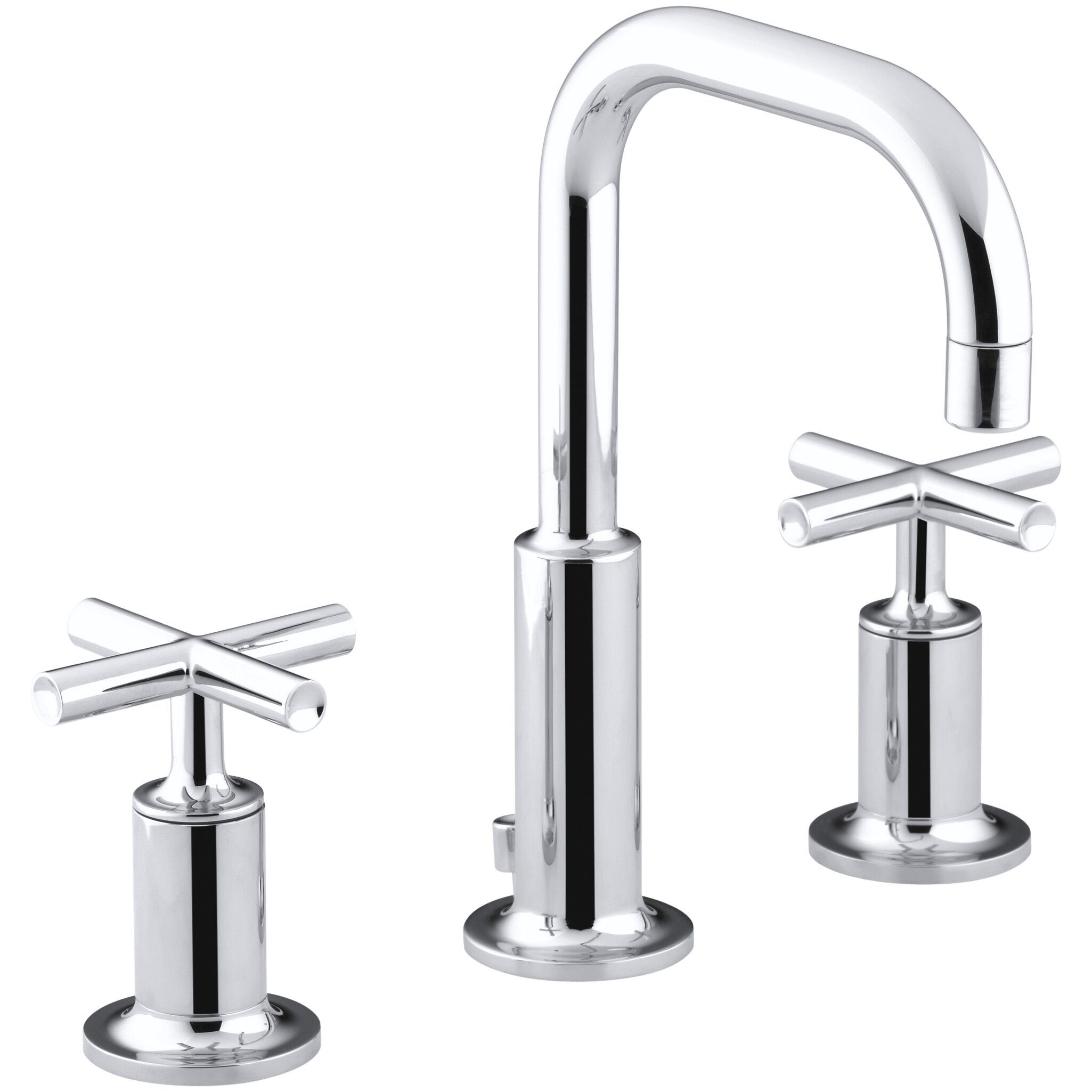 purist widespread bathroom sink faucet with low cross handles and low