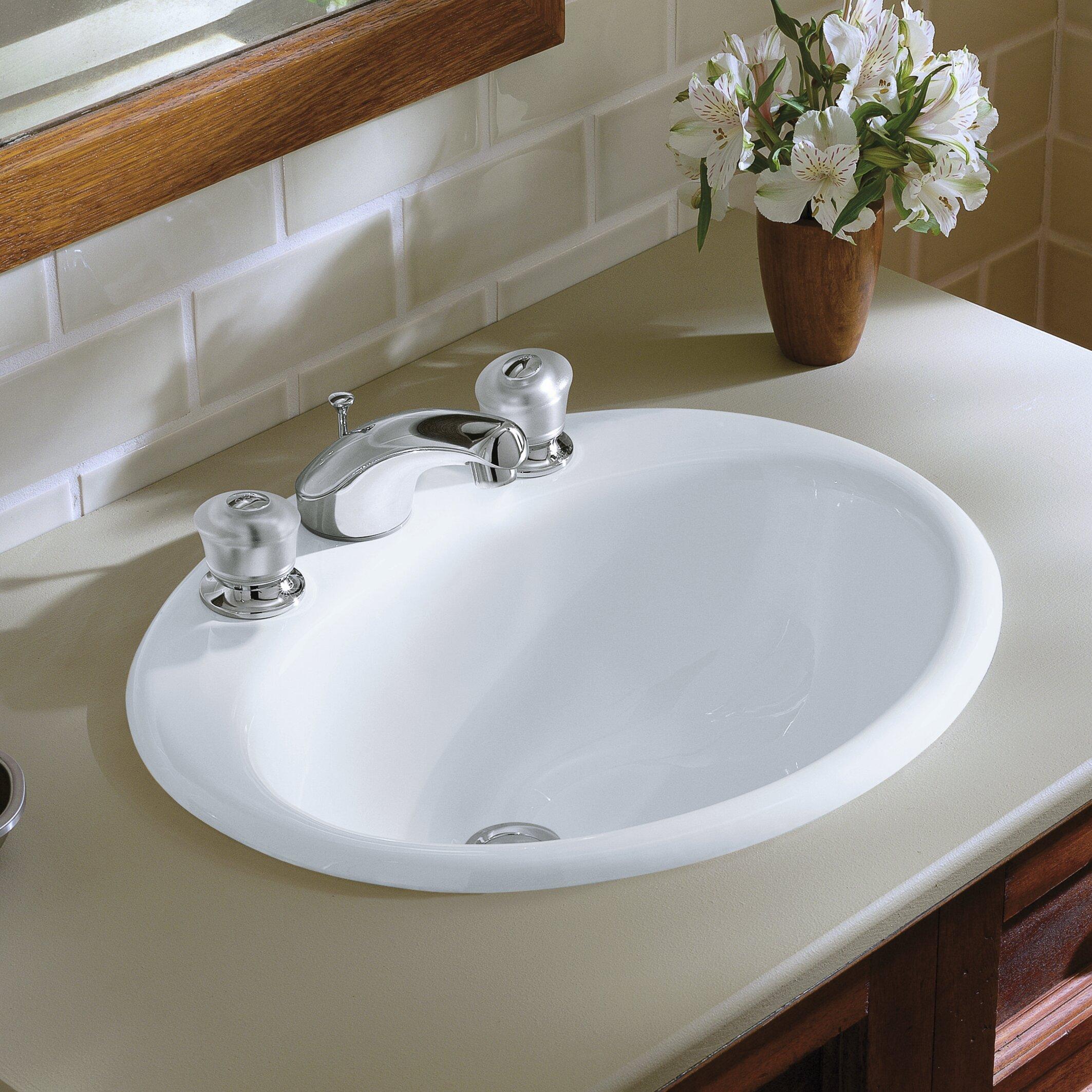"""kohler farmington drop-in bathroom sink with 8"""" widespread faucet"""