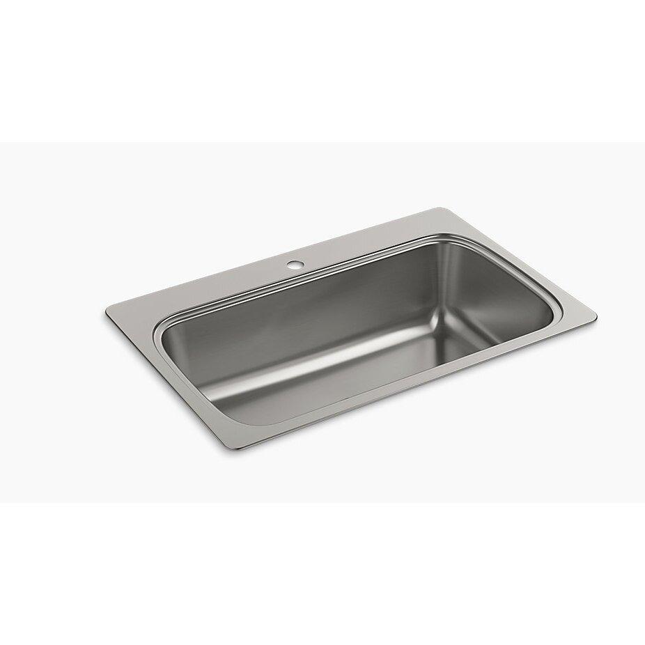 "Top Mount Sink Kitchen: Kohler Verse 33"" X 22"" Top Mount Single Bowl Kitchen Sink"