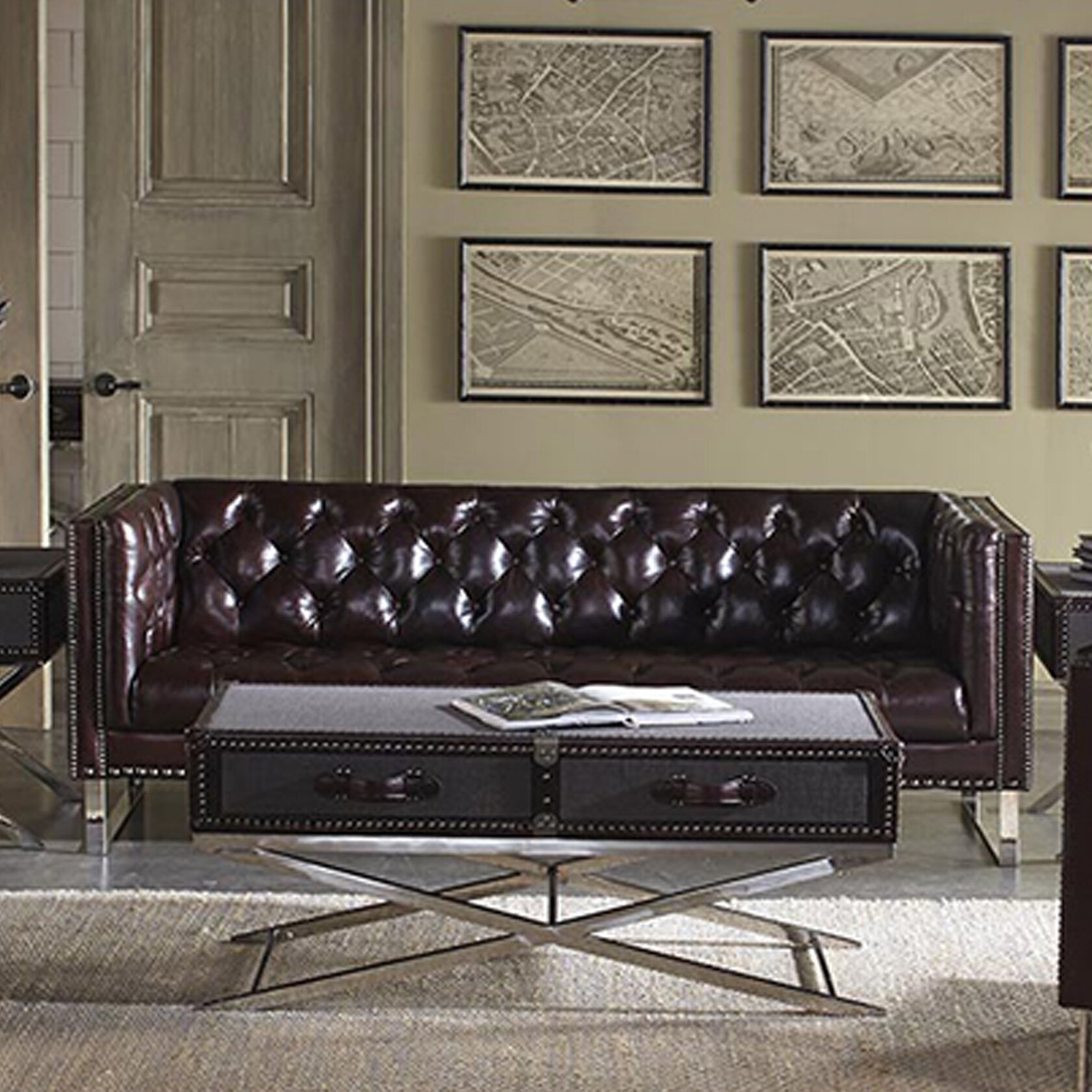 Superior Lazzaro Leather Bordeaux Sofa Wayfair