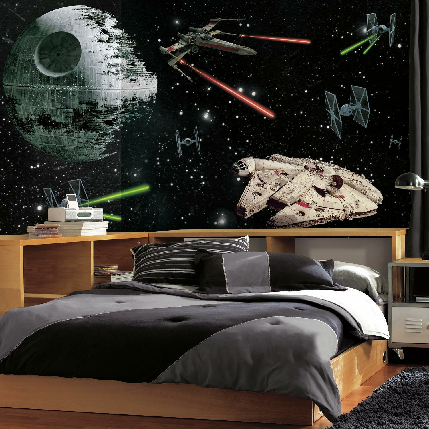 Room Mates Star Wars Vehicles Chair Rail Prepasted Wall