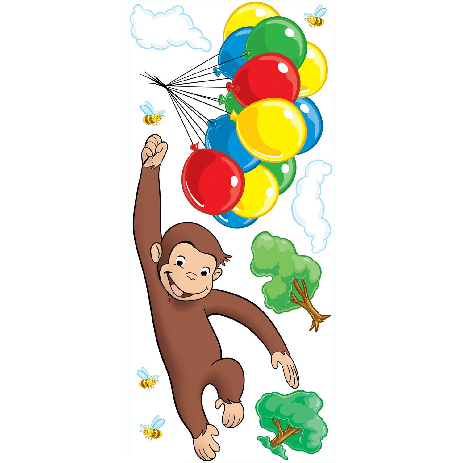 Room Mates Favorite Characters 10 Piece Curious George Giant Wall ...