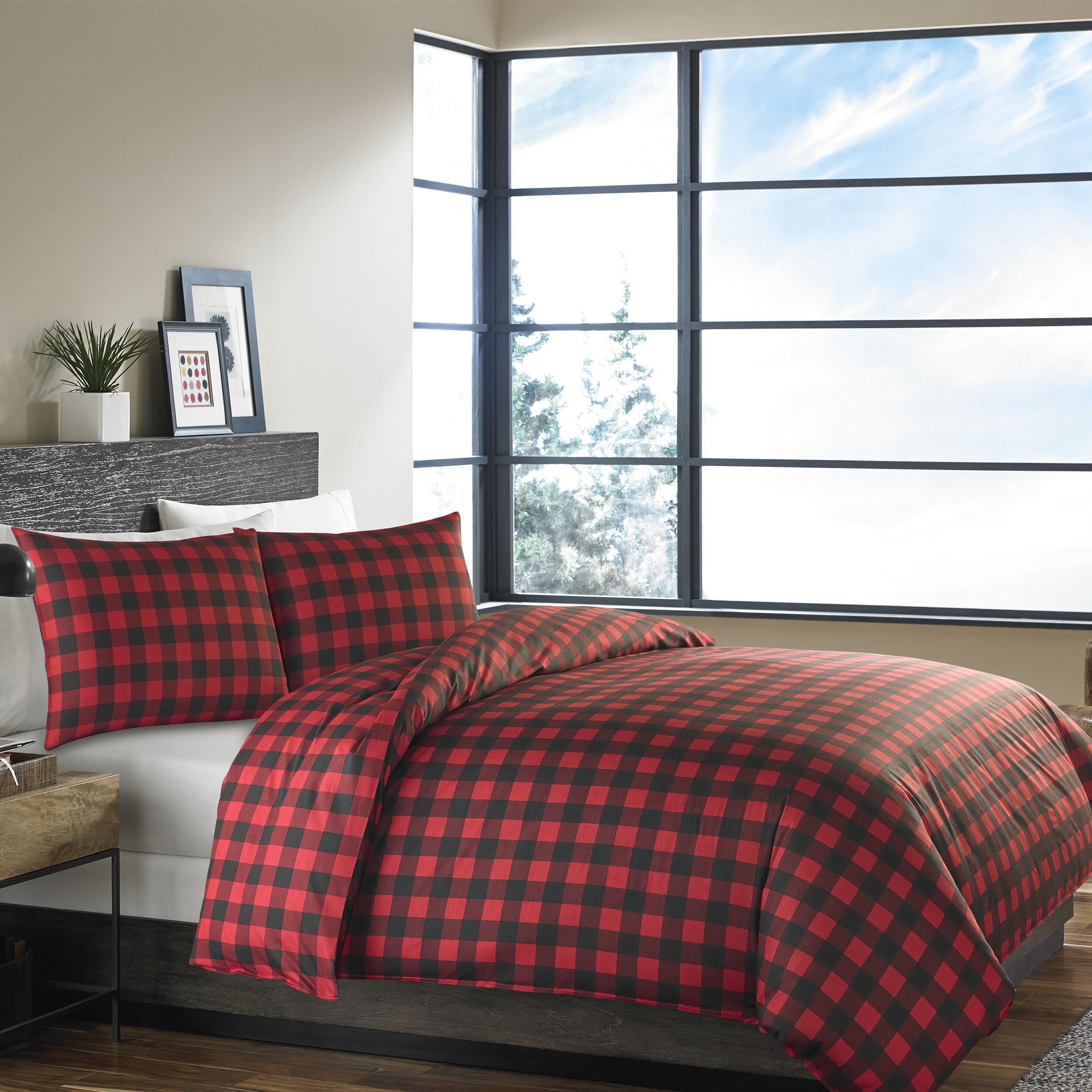 Eddie Bauer Mountain Plaid 3 Piece Reversible Comforter