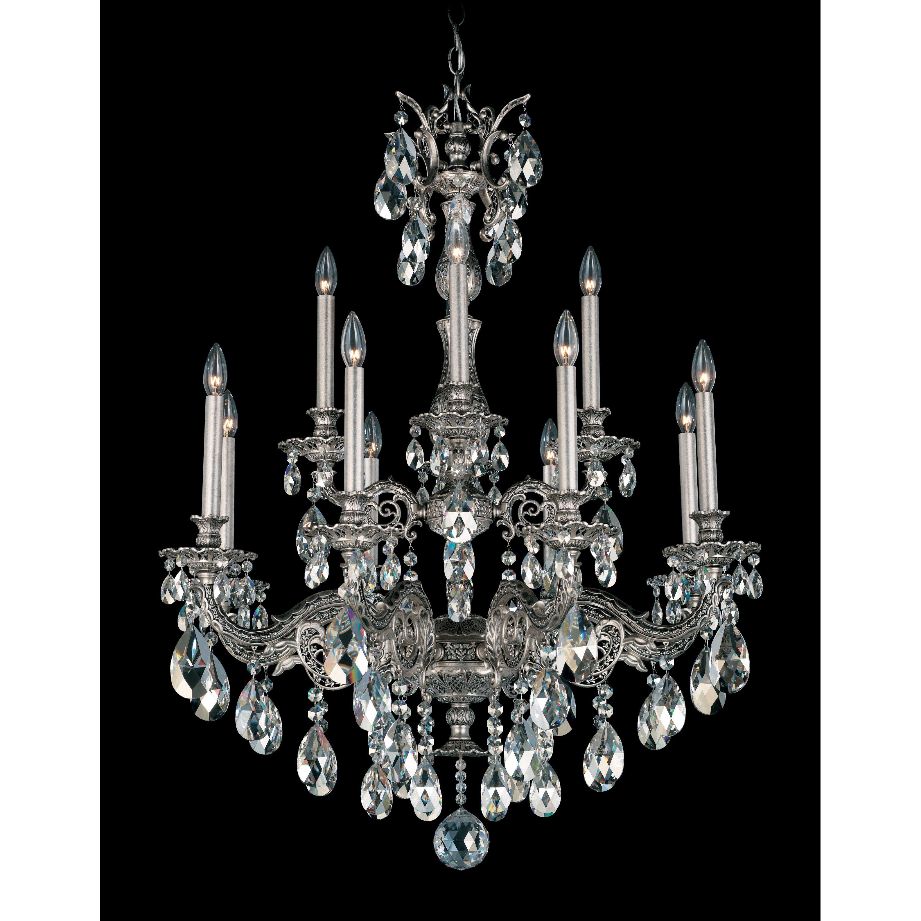 Schonbek Chandelier Replacement Crystals: Schonbek Milano 12-Light Crystal Chandelier