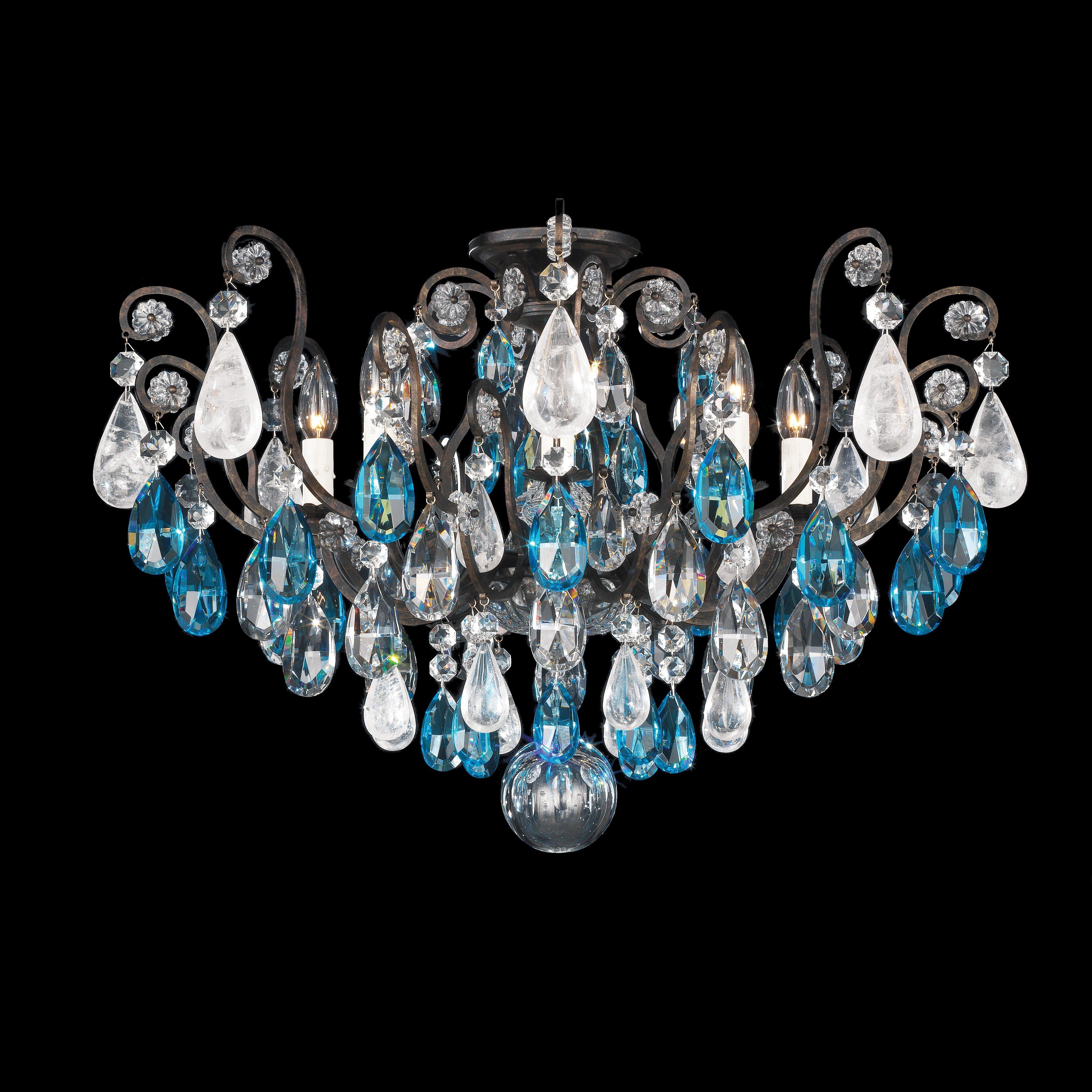 Schonbek Renaissance Rock Crystal 8Light Semi Flush Mount – Rock Crystal Chandelier