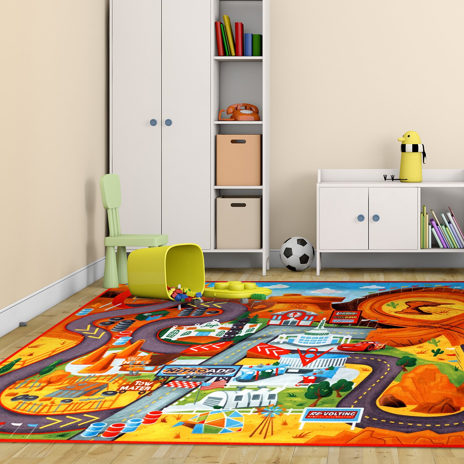 Co color in cars activity - Disney Cars Polyester Orange Green Kids Rug