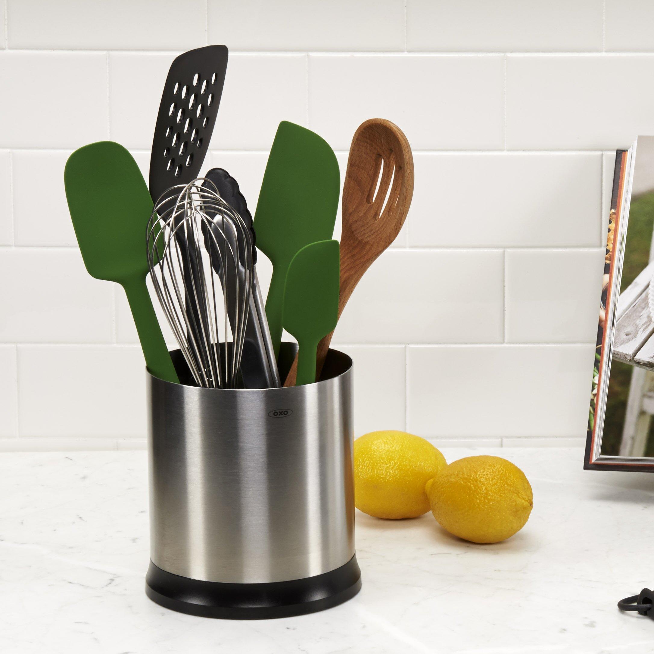 Kitchen Utensil Holder Oxo Good Grips Stainless Steel Rotating Utensil Holder Reviews