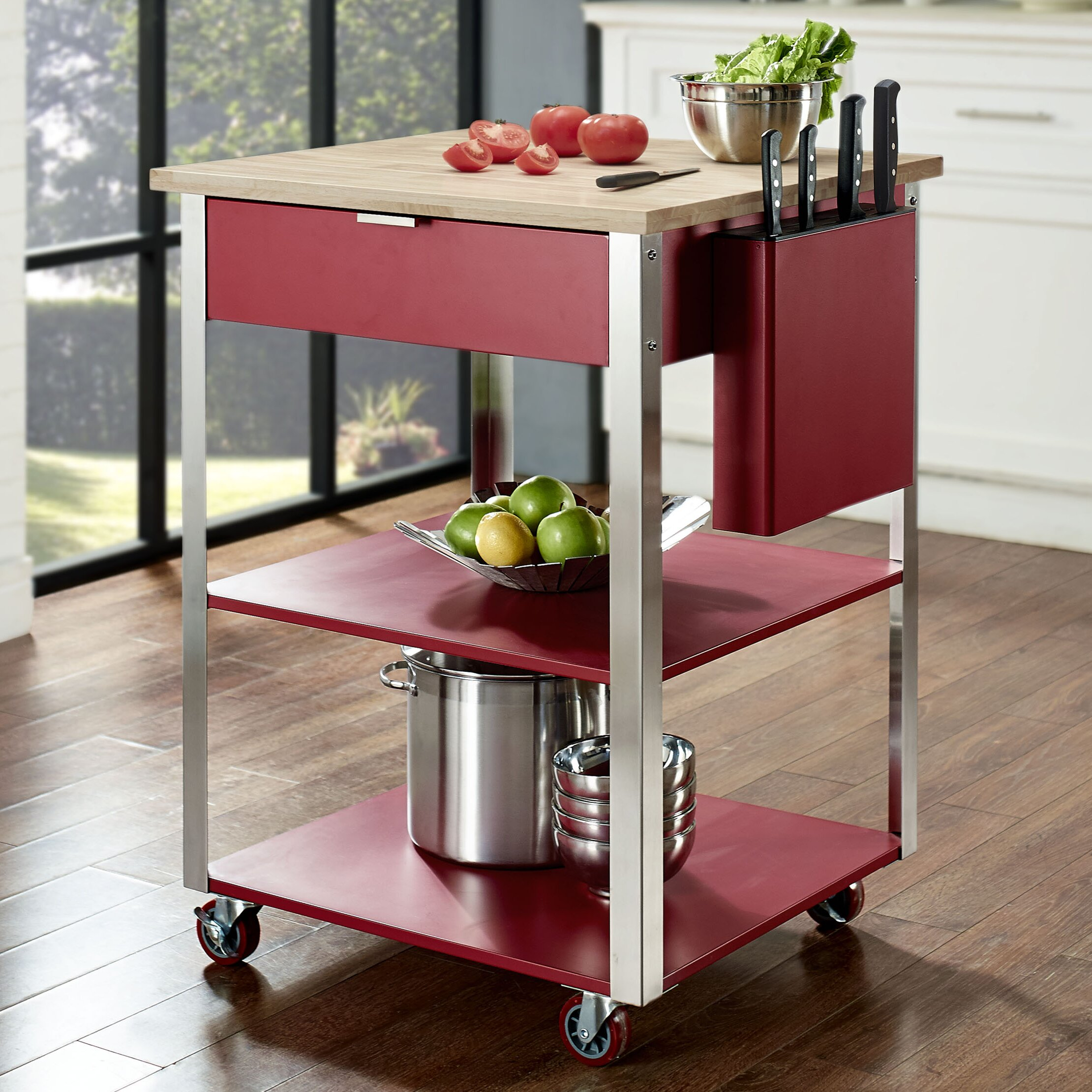 Crosley Furniture Kitchen Cart Crosley Kitchen Cart With Butcher Block Top Reviews Wayfair