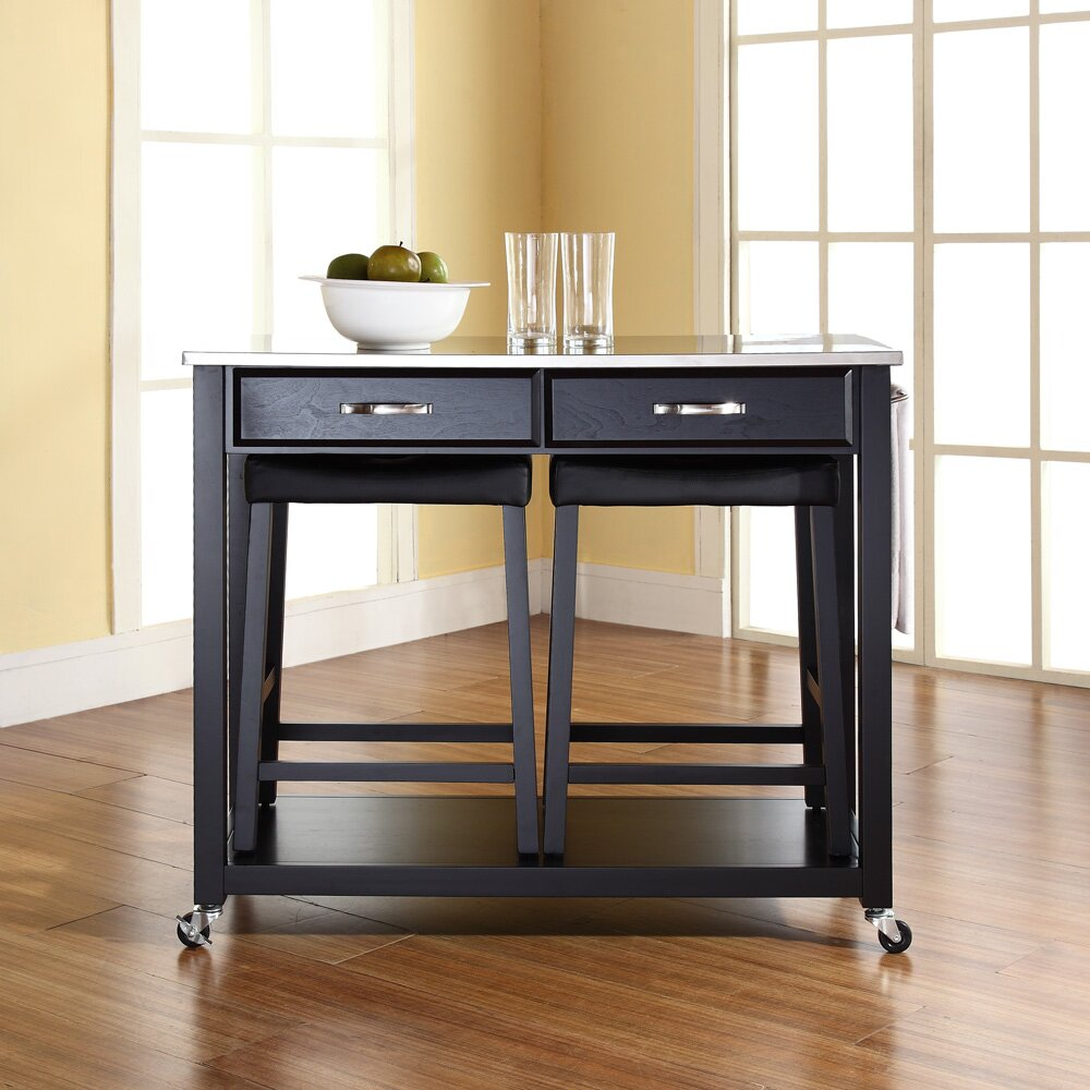 Kitchen Island Furniture Crosley Kitchen Island Set With Stainless Steel Top Reviews