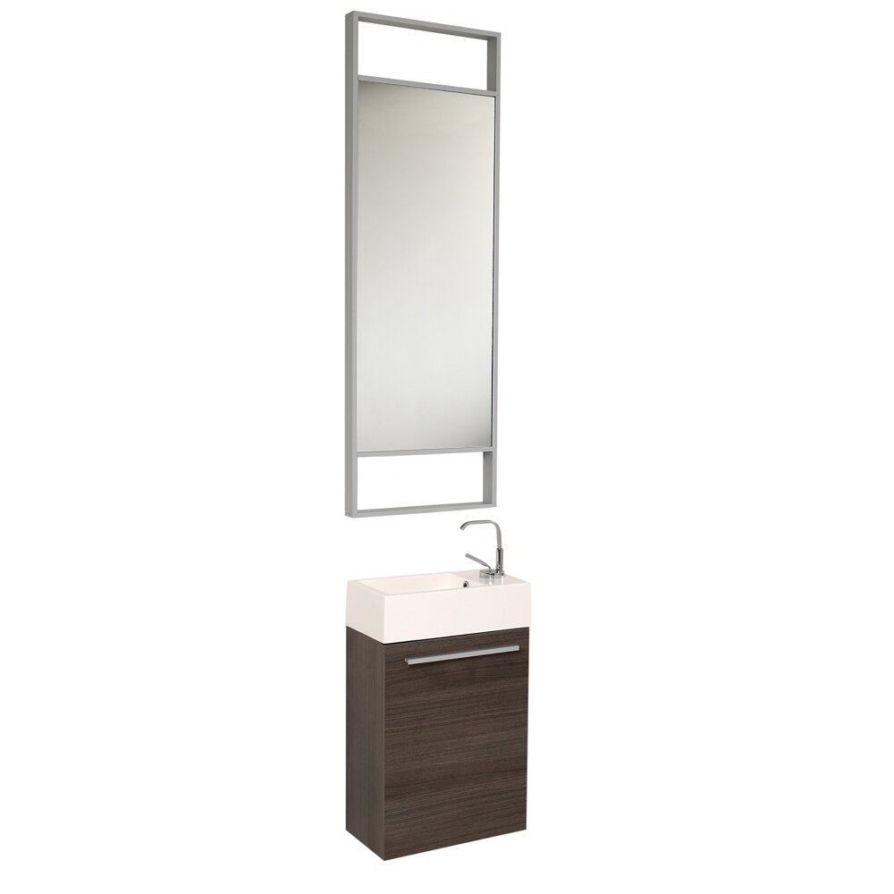 Fresca senza 16 single pulito small modern bathroom vanity set with mirror reviews wayfair - Bath vanities for small spaces set ...