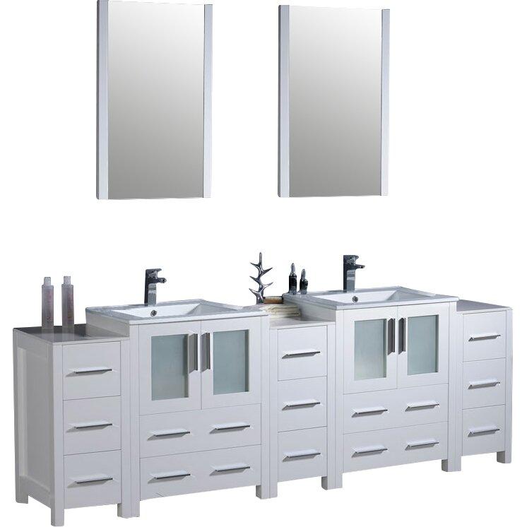 Fresca Bari Torino 84 amp quot  Double Modern Bathroom Vanity Set with Mirrors. Fresca Bari Torino 84 quot  Double Modern Bathroom Vanity Set with