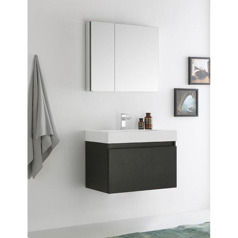 Fresca senza 30 mezzo single wall mounted modern bathroom - Modern bathroom wall cabinet ...