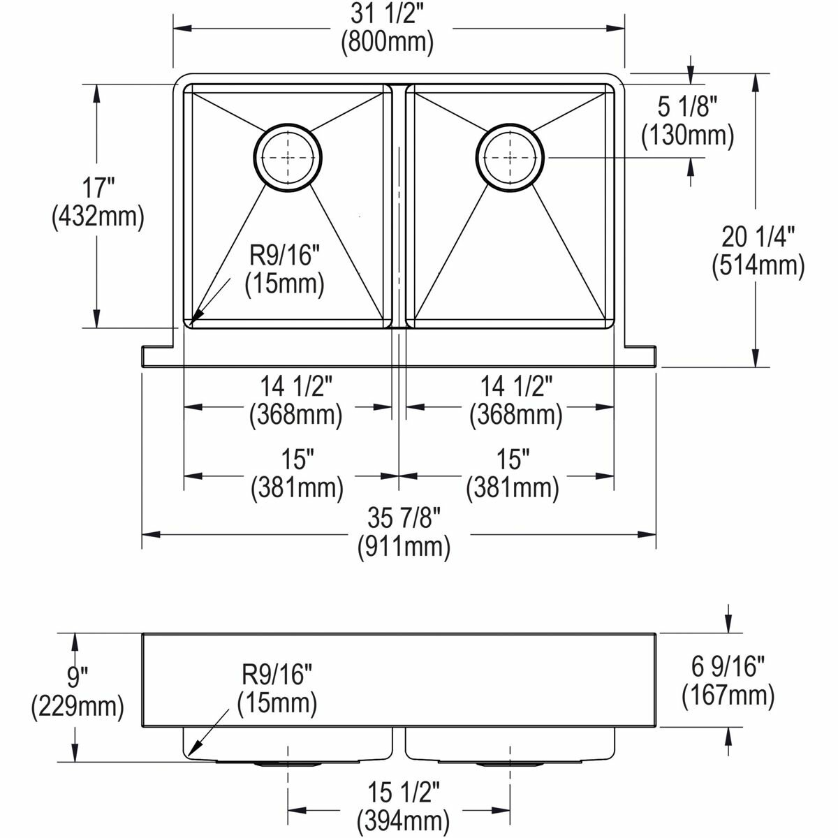 Elkay Crosstown  X  Stainless Steel Double Bowl Apron - 15 x 20 kitchen design