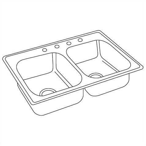 """elkay dayton 33"""" x 19"""" top mount double kitchen sink & reviews"""